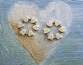 NEW 2 Silver Heart Charms 3658