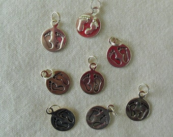 Stamped Bare Feet Charms - Silver Tone