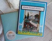 New House, handmade greeting card, flower garden, blue tones, complete inside, shaker card, balsampondsdesign, home sweet home