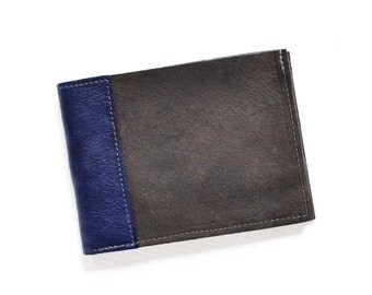 Mens Brown Leather Wallet, Minimalist Wallet, Slim Bifold Wallet, Monogrammed Gift for Him - The Frankie Wallet in Brown and Royal Blue