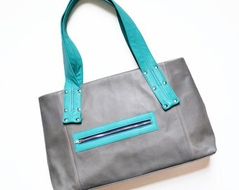 Leather Laptop Bag for Women / Leather Tote Bag / Travel Bag / Work Tote - The Grayson in Granite Grey and Teal