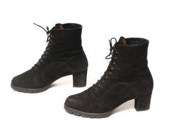 size 6 PLATFORM black leather 80s 90s COMBAT GRUNGE lace up witchy goth ankle boots