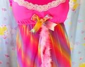Rainbow dress, babydoll lingerie sheer nightie lisa frank clothing size M L medium large