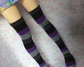 Purple and Black Striped stockings for msd bjd Unoa