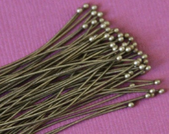100pcs of Antiqued Brass Ball end headpin - 22G  2 inch
