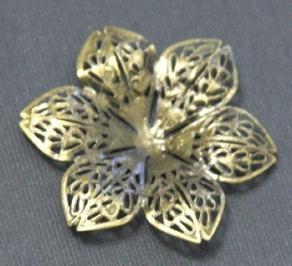 Close Out --- 15 pcs of Antiqued Brass over steel filigree flower focal 43mm