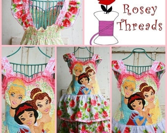 Disney Princess Applique Dress, Girls Princess Dress