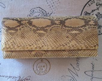 Beautiful Vintage Golden Yellow Python Snake Skin Purse Clutch