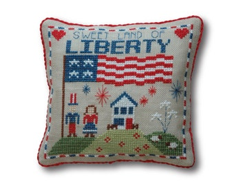 Liberty Pillow 4th of July Cross Stitch Pattern Instant Download