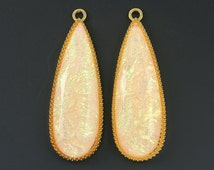 Long Pink Teardrop Earring Finding AB Faux Dichroic Glass Gold Bezel Large Drop Jewelry Supply |R5-7|2