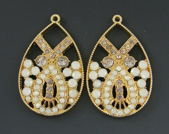 Gold Art Deco Earring Findings with Milky White and  Gray Rhinestones Ornate Teardrop Opalescent Dressy Pendant Jewelry Supply |G6-4|2