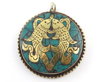 Fish Pendant Tribal Metal Inlay Turquoise Gold Silver Amulet Large Round Pisces Ethnic Jewelry Component |B11-4|1