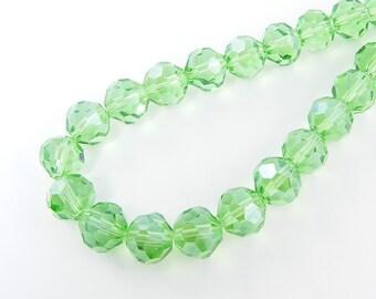 Green Glass Beads 10mm Green Faceted Round Beads Light Green Luster Beads Glass Bead |GR2-14|11