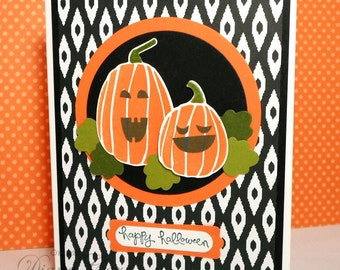 Happy Halloween Card - Hand Stamped Halloween Card - Jack O Lantern Cards - Black and Orange Pumpkin Card