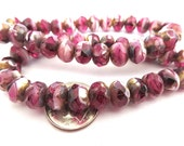 SALE 25 Fuchsia Pink and White Picasso Czech Fire Polished Rondelle Beads 6mm x 8mm