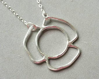 Flower Necklace, Handmade Flower Pendant, Hammered Open Flower Necklace Fine Silver 3 Petals Flower 16 to 18 inches Maggie McMane Designs