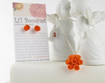 CLEARANCE! - Orange Rose Pendant with Necklace and Earrings - Polymer Clay & Sterling Silver