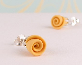 Stud Earrings - Yellow Roses - Polymer Clay & Sterling Silver