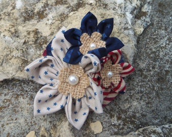 Fabric Brooch Pin Red White Blue Stars Stripes