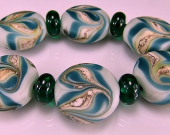 Etched  Green Teal Silvered Ivory Lampwork  Bead Set