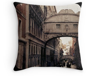 Merchant of Venice - Bridge of Sighs (Italy travel photo throw pillow cushion cover, romantic gondola eerie beige brown stone brick vintage)