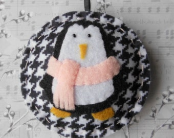 Felt Penguin Christmas Ornament - Cozy Winter Penguin No. 12 - SALE