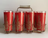 vintage tall red and gold Asian goddess barware glasses and caddy set 1950s
