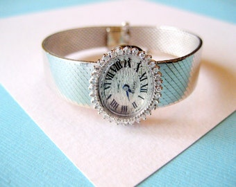 14kt White Gold and Diamond Bezel Ladies Watch with Sapphire Hands