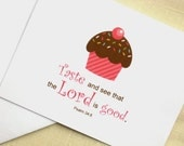 Cupcake Note Cards - Taste and See That the Lord Is Good - Set of 8