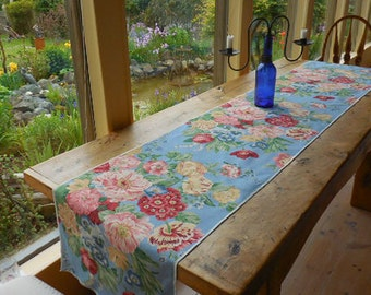 20% Sale, Coupon Code 47474.  Designer Fabric Blue Floral Boho Chic Table Runner