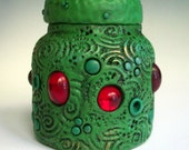 Green Dragon Jar/ Vase Polymer Clay over Glass
