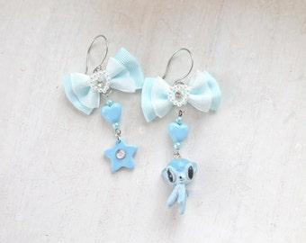 Deer kawaii mismatched dangle earrings blue Fairy kei