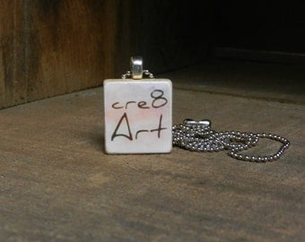 Scrabble Tile Pendant w/ ball chain