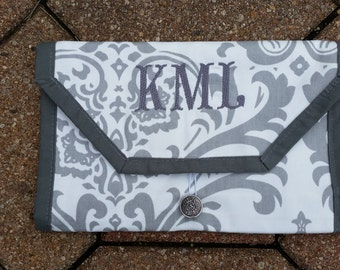 Travel electronic cord caddy/organizer; personalized gift; bridesmaid gift; monogram gift