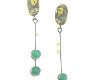 Textured Fused 18 Karat Gold Sterling Silver Asymmetrical Chrysoprase Earrings Dangle Post