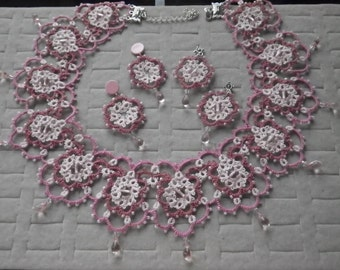 Cherry blossom pink statement tatted necklace & earrings w/ Swarovski Crystal,Czech glass beads, spring, tatting lace jewelry, prom fashion