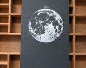 letterpress notebook Moon recycled