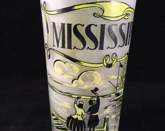 Vintage Frosted Glass Mississippi State Souvenir Drinking Glass