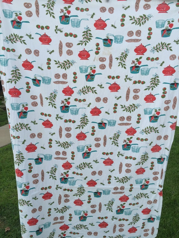 1 1/2 Yards of Vintage Kitchen Print Cotton Fabric