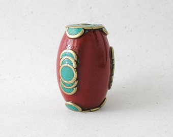 Tibetan Gemstone Focal Bead Red Resin Turquoise Inlay Ethnic Bead For Jewelry Making