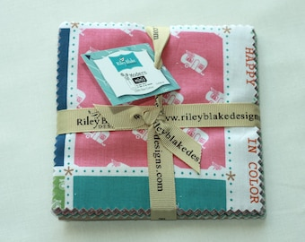 "SALE 5"" inch squares MODERN MINI'S charm pack fabric by Riley Blake by Lori Holt"