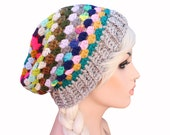Colorful Crochet Granny Stitch Rainbow Mix Match Slouch Beanie Hat - Rhyme & Reason
