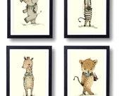 Safari Nursery Art Animal Paintings Baby Animal Prints  Childrens Wall Decor Kids Room Elephant Giraffe Zebra Jaguar Set of 4