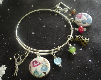 I *Heart* Sewing Expandable Stackable Bangle Charm Bracelet