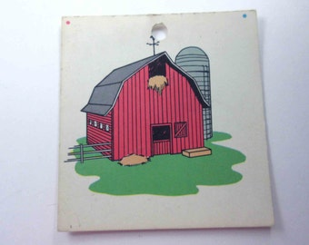 Vintage Children's School Flash Card with Picture for Barn in Color