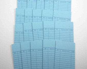 Blue Library Borrower's Check Out Cards Set of 25