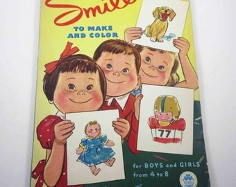 Smiles to Make and Color Vintage 1950s Over Sized Children's Coloring Book by Merrill