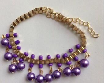 gypsy box dancer charm pearl purple plum metallic beaded bracelet Sead bead indian bead bohemian charm look beach
