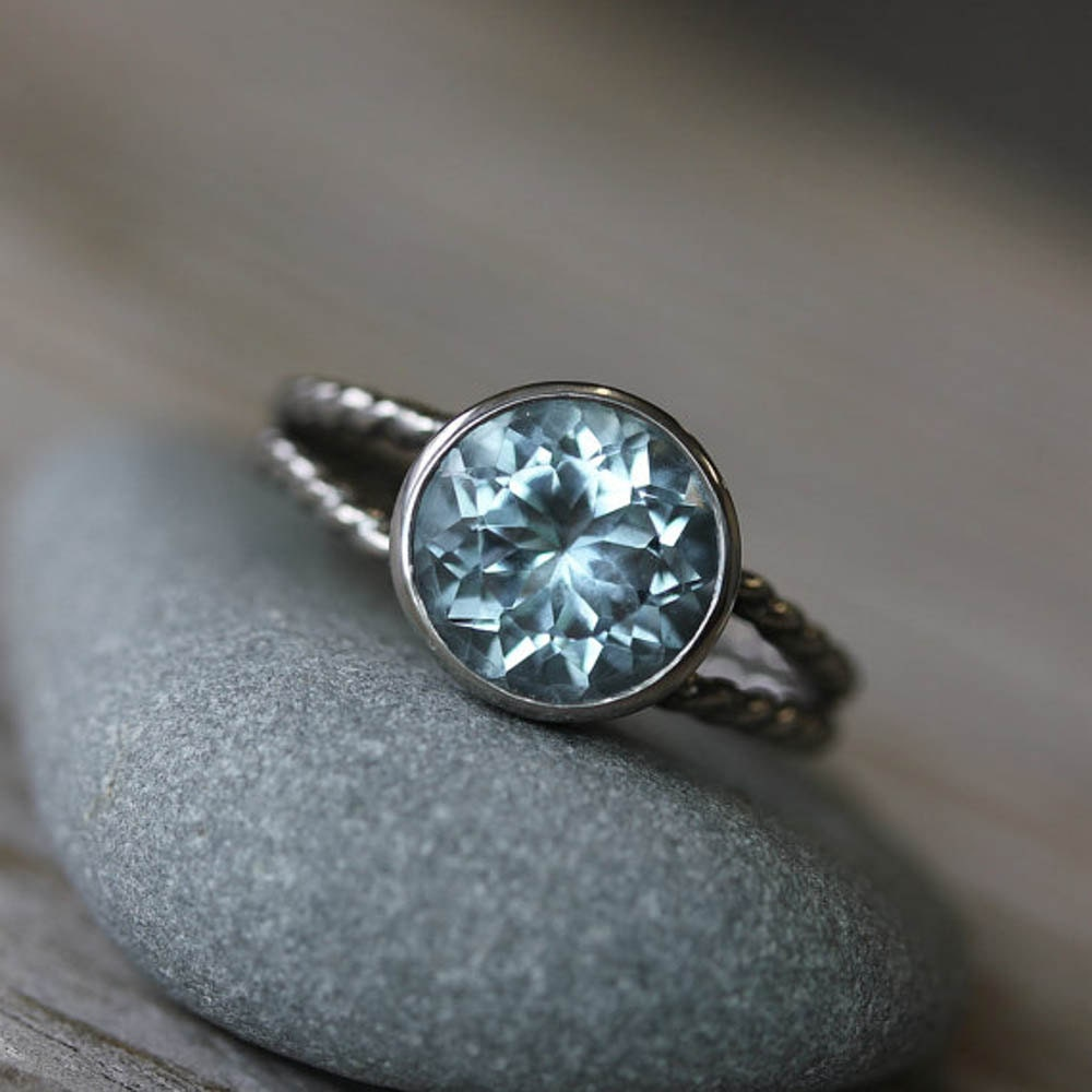 aquamarine ring march birthstone ring for her white gold. Black Bedroom Furniture Sets. Home Design Ideas