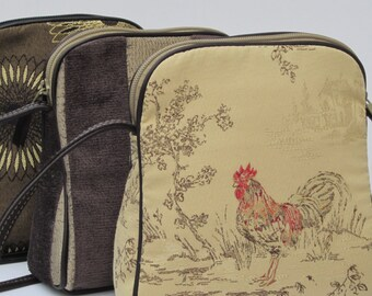SMALL SHOULDER BAG Fabric and Leather Rhode Island Red